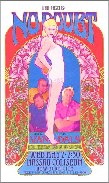 No Doubt poster by by Bob Masse. Bob produced memorable concert posters for bands as far back as the '60's, and helped pioneer the emerging psychedelic art genre.    I HAVE THIS!
