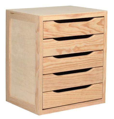Cajonera de madera de pino macizo natural con 5 cajones. Medidas