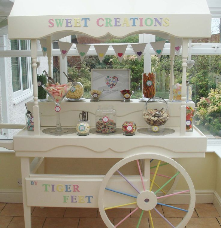 Traditional Victorian Sweet Cart for hire in Wirral, North West. For all occasion: Weddings / Birthdays / Christenings... etc  www.facebook.com/sweetcreationscarts