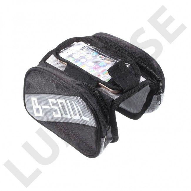 B-SOUL Sykkel bag med avtakbar bag for 5.5'' telefoner - Svart - GRATIS FRAKT!