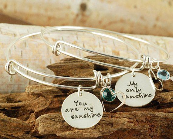 You Are My Sunshine Bracelet - My Only Sunshine Bracelet - Alex and Ani Inspired - Hand Stamped Bracelet on Etsy, $60.00