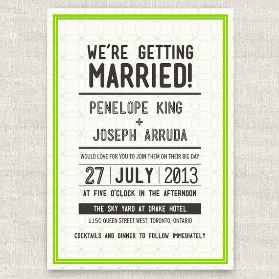 Dotted - modern typographic wedding invitation with dotted pattern via Etsy