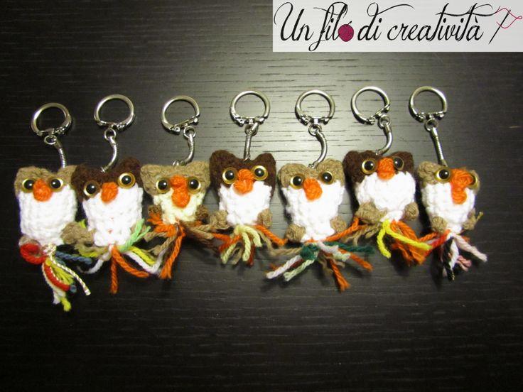 Portachiavi Gufi fatti a mano all'unicnetto. - Keychain crochet handmade owls