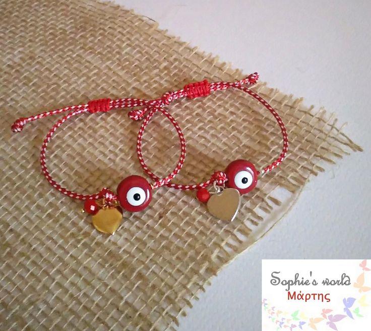 βραχιολάκια του Μάρτη με ματάκια κεραμικά κόκκινα με καρδούλες σε επιχρυσο επάργυρο #μαρτάκια #Μάρτης17 #spring #fashion #greektradition #evileyes #hearts #martis #martakia https://www.facebook.com/SophiesworldHandmade/