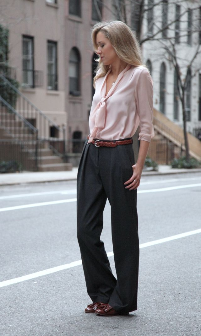 a+zara+wide+leg+pleated+gray+wool+trousers+blush+peach+pastel+pink+silk+tie+neck+body+suit+tibi+braided+brown+belt+menswear+trends+tassle+loafer+brogues+oxford+shoes+fashion+style+blog+professional+office+work+women+wear+inspiration+silver+jewelry.jpg 640×1,070 pixels