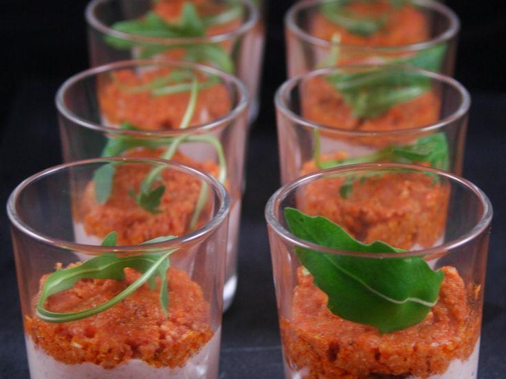 jambon blanc, carré frais, crème liquide, ail semoule, paprika, tomate séchée, ail semoule, pignon, parmesan râpé, huile