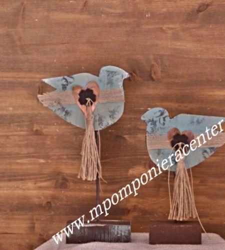 Σετ Δύο πουλάκια επιτραπέζια με σχέδιο καρδούλα από Χαλκό - υφασμάτινο λουλουδάκι και φούντα.