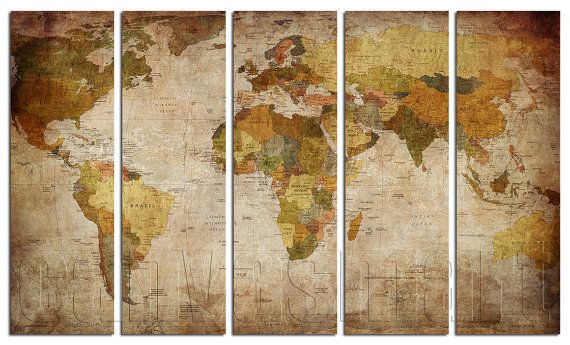 Political Vintage World Map Diptych Triptych Multi Panel Large