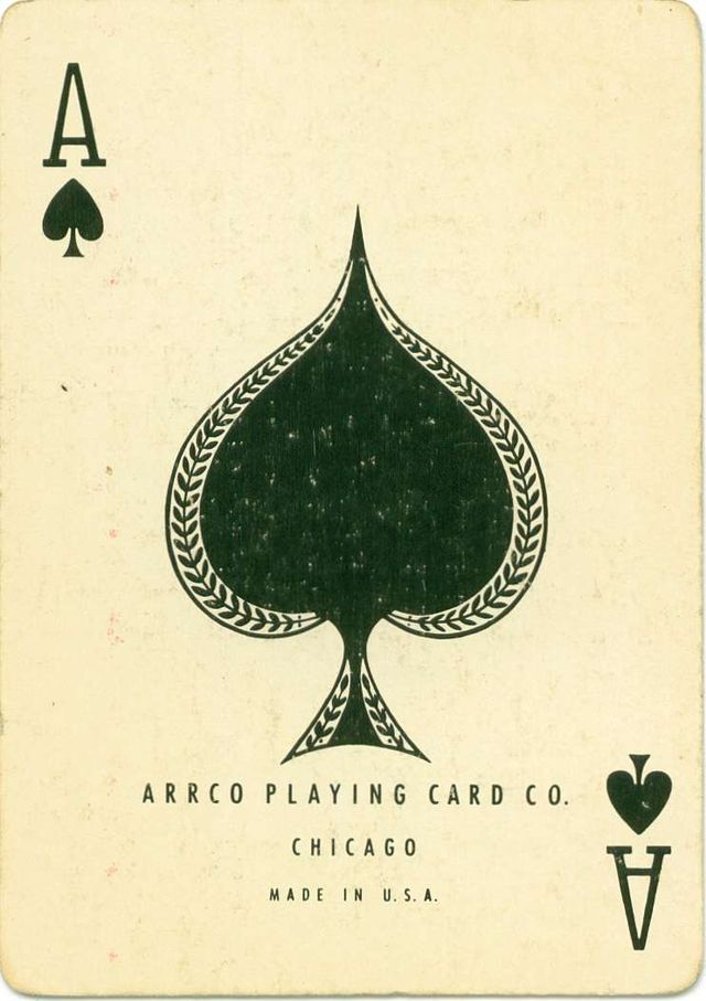 Vintage playing card.   Could do something like this, but utilize the space within the center spade to include stylized venue logo and info.