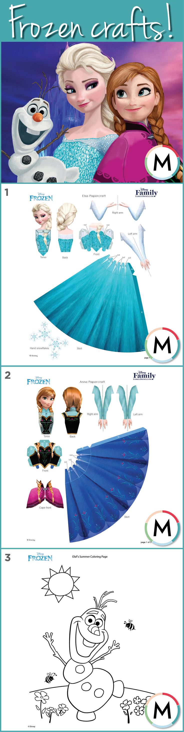 Frozen Printables! Your kids can act out the scenes and sing 'Let It Go' to their heart's content with these little paper doll versions of Elsa and Anna! Free printables to download with easy instructions. PLUS: Olaf colouring page! Free printables download links below. ELSA: http://family.disney.com/crafts/elsa-papercraft ANNA: http://family.disney.com/crafts/anna-papercraft OLAF: http://family.disney.com/activities/olafs-summer-coloring-page #BeatTheBoredom #frozen #letitgo #elsa #anna…