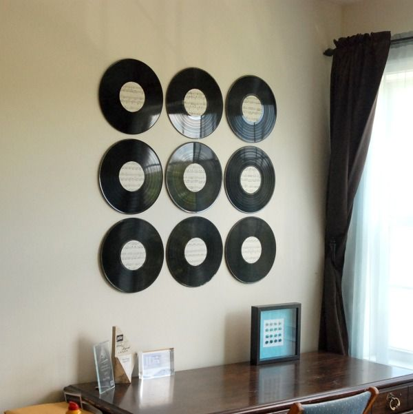 Create some cool wall art with just some old vinyl records and some sheet music! & 289 best Music decor images on Pinterest | Diy vinyl projects ...