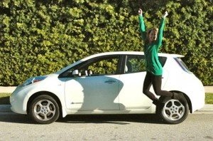 Monica Horan and her Nissan Leaf