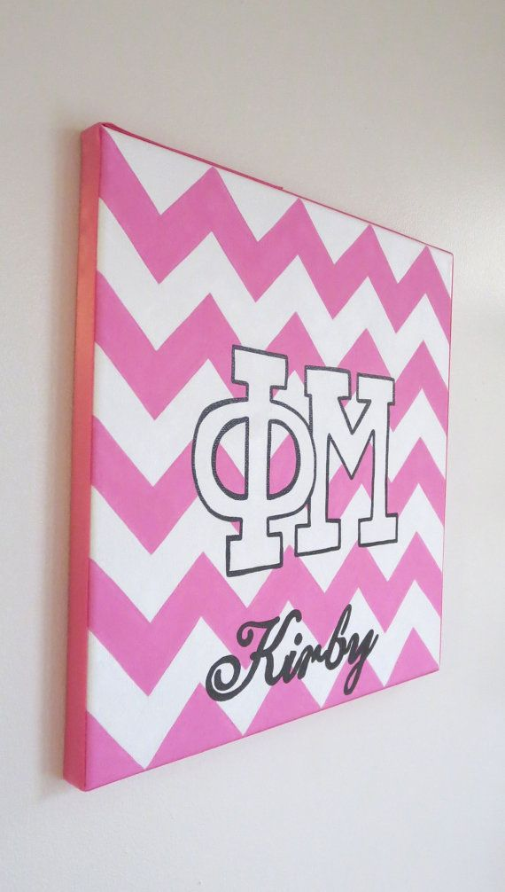 hand painted personalized Phi Mu letters by PreppyInPinkUSA
