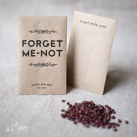 Forget-me-not seeds in a personalised envelope, nice idea