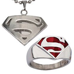 One of the most iconic symbols of hope! Stainless Mand of Steel necklace & ring. Show your Superman or Supergirl love with this simple everyday jewelry!