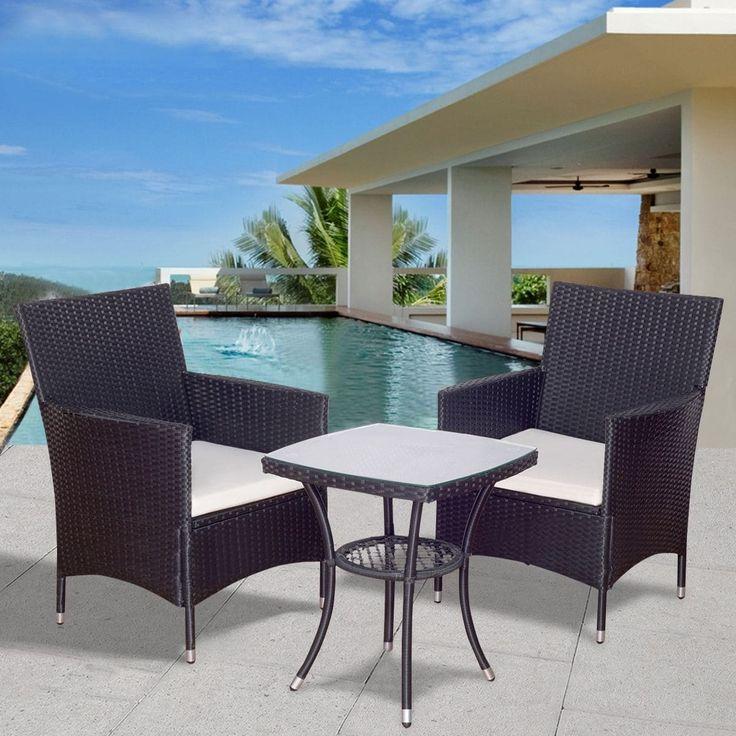 Costway 3PCS Patio Garden Rattan Wicker Furniture Set Sofa Cushioned Table  W/Lower Shelf,