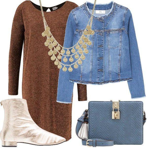 Un look per chi vuol vestire con originalità. Un abito color bronzo, un giubbino di jeans a collo tondo, con applicazioni, stivaletti in tessuto e similpelle color oro, borsa a tracolla color blu jeans e collana multifilo color oro.