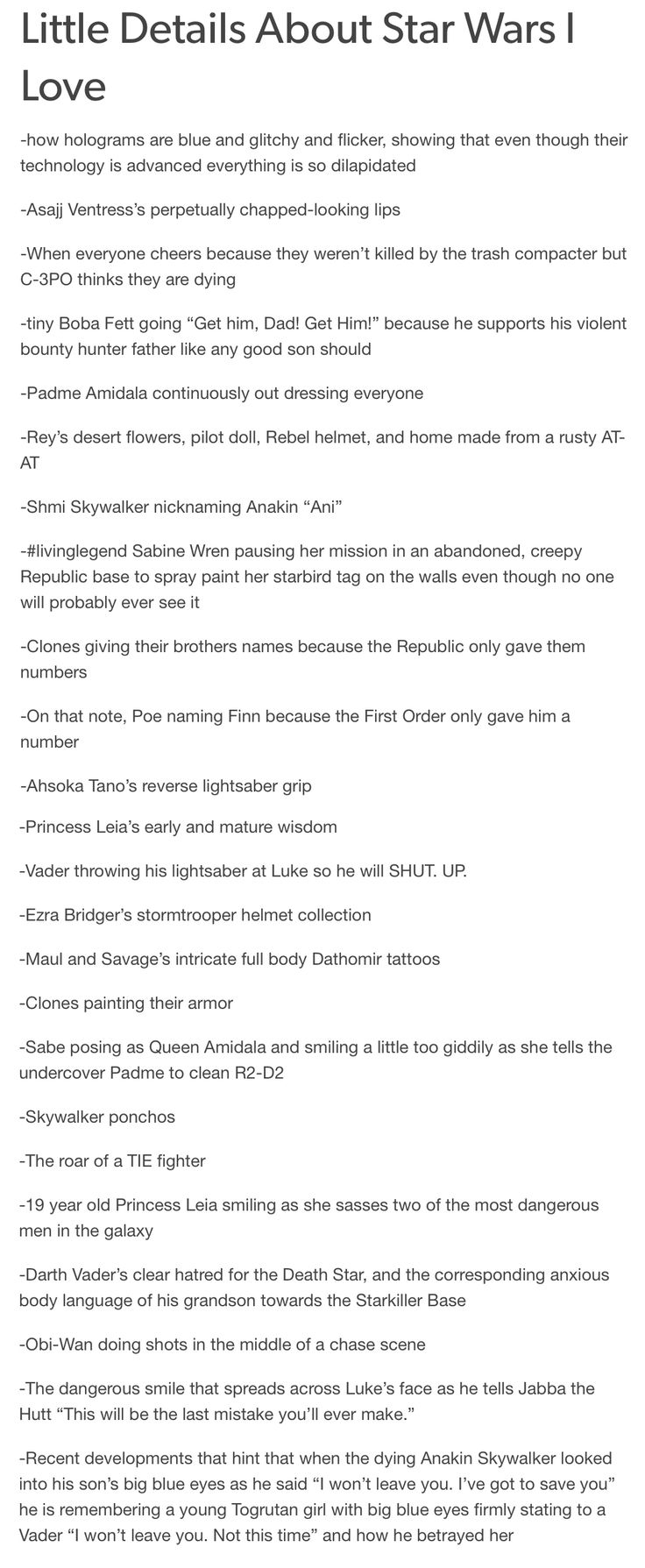 Little Details About Star Wars I Love<<<< THAT LAST ONE HURT SO MUCH!!!!