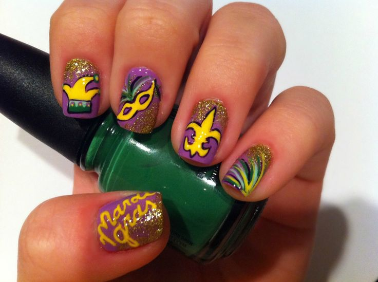 My #PureIceMyCity contest entry. Mardi Gras nails! | Nails by Amber ...