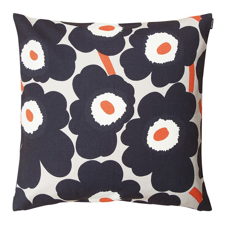 Discover the Marimekko Pieni Unikko Cushion Cover - 50x50cm - Grey/Coral at Amara
