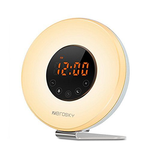 """Zerosky Wake Up Light Alarm Clock, Multi-function Touch Control Digital Clock Sunrise Simulator with FM Clock Radios - 7 Colors LED Night Light Bedside Table Lamps - Multiple Features: ☀Snooze Mode - At alarm time, the wake-up sound will play for 2 minutes. During wake-up sound playing, gently touch """"SNOOZE"""" button, and it will enter the snooze mode automatically. The alarm sound will play again after 5 minutes and last for 2 minutes, giving you an ext..."""