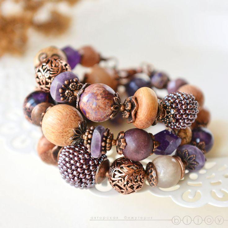 Купить Браслеты из натуральных камней «Варенье из ежевики» - фиолетовый…
