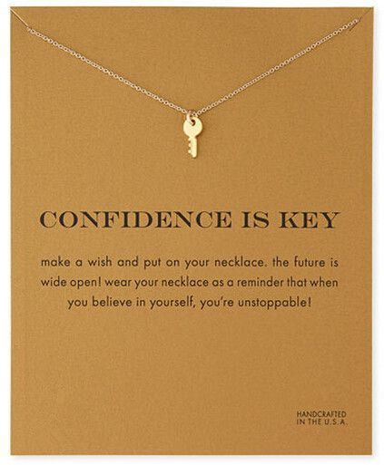 Gold Plated Sparkling Confidence Key Necklace