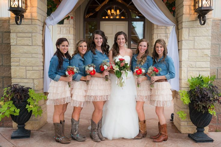 denim shirt and ruffle skirt bridesmaid. Country wedding. Rustic wedding. Cowboy boots. Denim. Outdoor wedding.