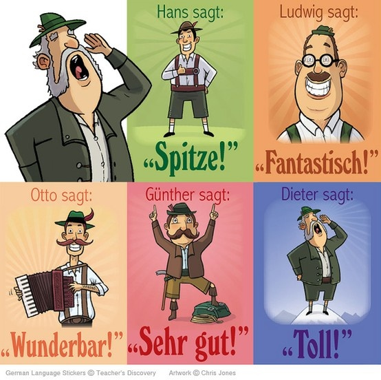 Spitze! Fantastische! Toll! Sehr gut! Wunderbar! in German (great, fantastic, wonderful/marvellous, very good, great/super/cool). 'Cool', 'super' and 'geil' (awesome/wicked/epic) are also very common adjectives.