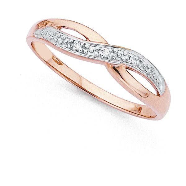9ct Rose Gold Diamond Crossover Ring