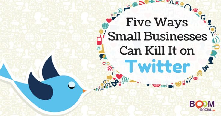 Five Ways Small Businesses Can Kill It on Twitter 1. Create a unique landing page just for Twitter 2  Search for and participate in relevant conversations 3  Connect with existing customers on Twitter 4  Use Twitter to increase click through rates 5  Embed you Tweets onto you blog for increased engagement  http://kimgarst.com/five-creative-ways-small-businesses-can-kill-twitter