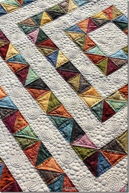 Beautiful quilt made using Missouri Quilt Company's instructions for quick HST's