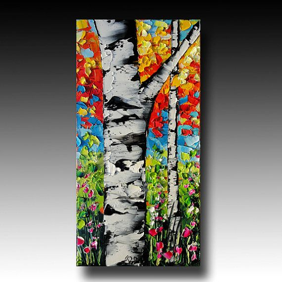 Birch Tree Painting Tree ART Abstract Palette Knife Painting Original Oil Painting