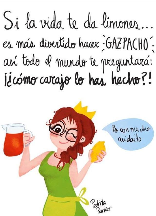 Si la vida te da limones...es más divertido hacer gazpacho!! Ilustración: @Pedrita Parker Illustration