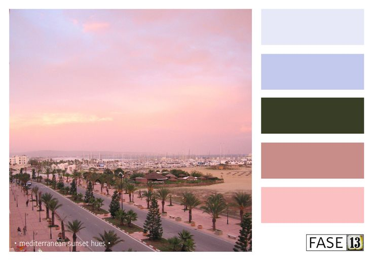 #blogpost #colourinspiration Palette of Mediterranean Sunset hues ~ Yasmine Hammamet Tunisia ~ by #fase13 ~ www.fase13.nl