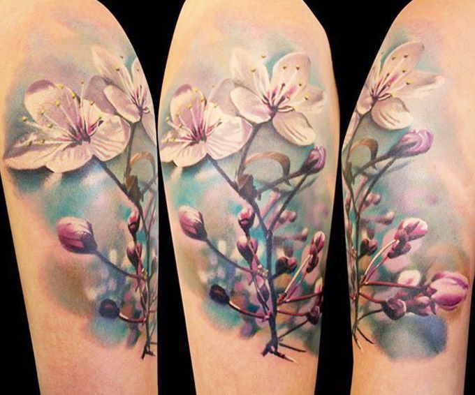 Realistic Flowers Tattoo by Gunnar V Tattoo | Tattoo No. 12849