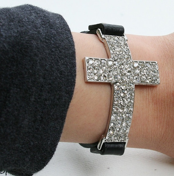 .Crystals Crosses, Style, Beautiful, Black Leather Bracelets, Jewelry, Accessories, Accessorizing, Cross Bracelets, Crosses Bracelets