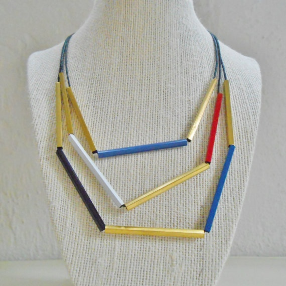Graphic ThreeLayer Necklace in Piet by AesOrnamentum on Etsy, $27.00