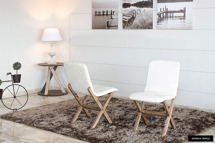 Καρέκλα Simple 190E δρυς μασιφ/αλεκιαστο υφασμα