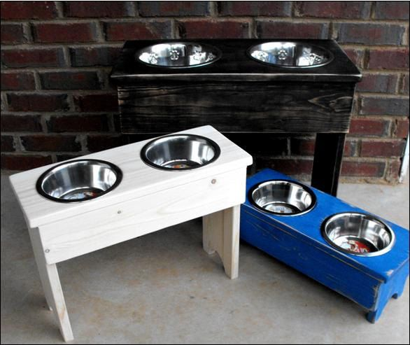 Large Shabby Wooden Raised Dog  Stand - 18'' Tall - 2 Two Quart Bowls. $55.00, via Etsy.