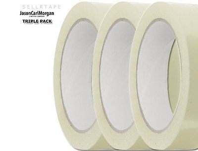 Plain & Simple 3x Pack Masking SellRTape Clear Label Unbranded Scotch Tape