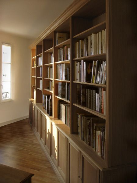 biblioth que sur mesure guillaume en ch ne massif deco. Black Bedroom Furniture Sets. Home Design Ideas