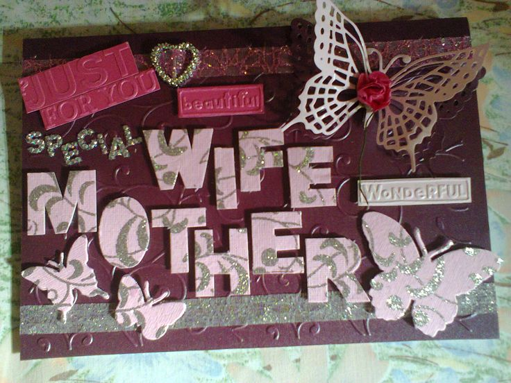 Personalized Plums And Pinks Wife/Mother Card