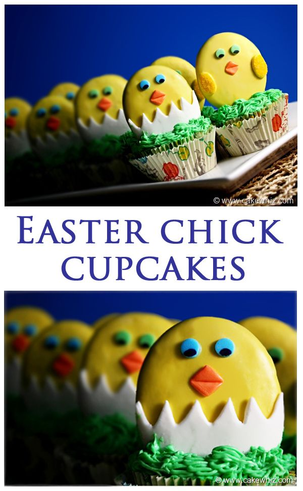 Cute EASTER CHICK CUPCAKES. The chicks are actually made from chocolate cookies. So, you get to enjoy 2 treats at once... cake and cookies! Tutorial and recipe included. From cakewhiz.com