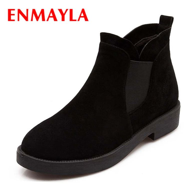 (28.23$)  Know more  - ENMAYLA New Fashion Women Flats Women Ankle Boots Flock Autumn Chelsea Boots Female Casual Shoes Round Toe Platform Boots Sale