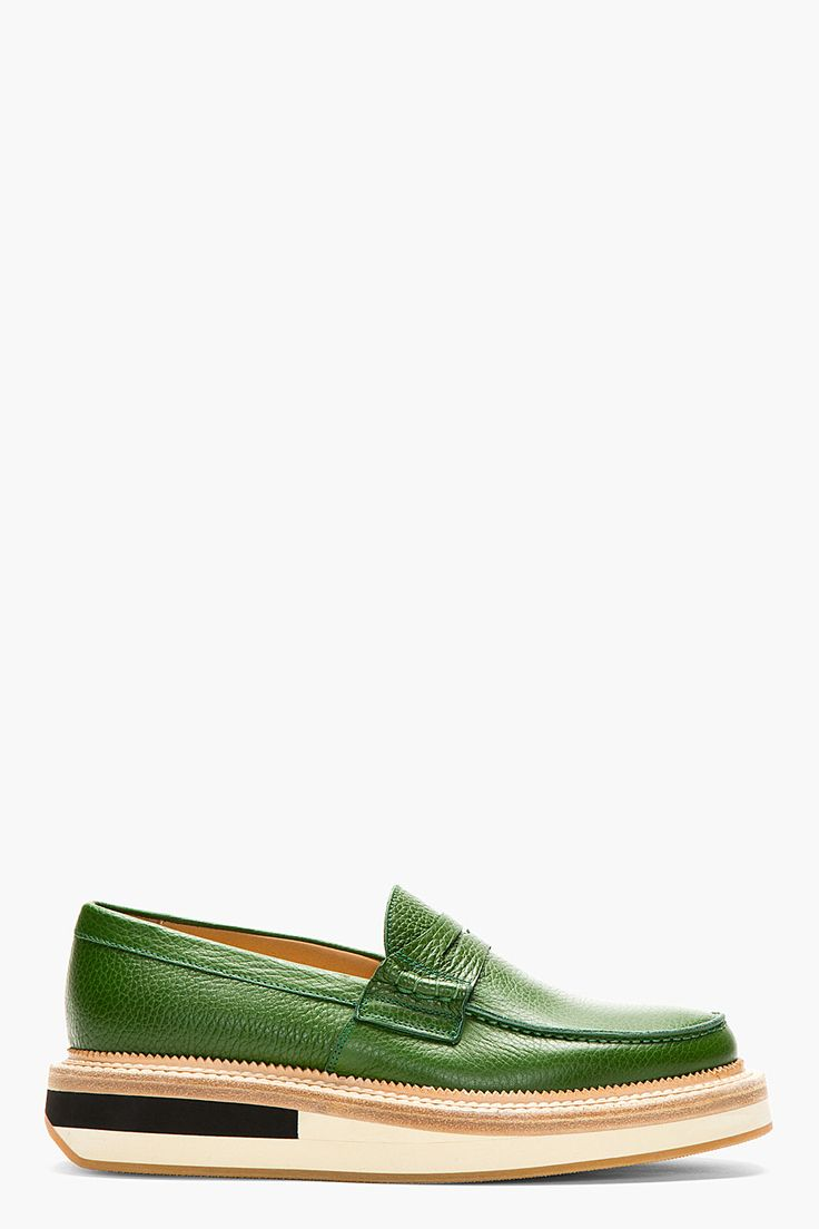GIULIANO FUJIWARA GREEN Grained Leather Penny LOAFERS