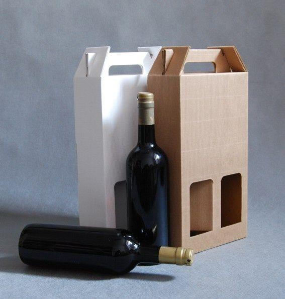 Pudełka z tektury falistej na dwie butelki.  Rozmiar: 17,5x8,5x31,5 cm Pudełka składane bez klejenia. Istnieje możliwość wykonania nadruku reklamowego na różnych pudełkach.