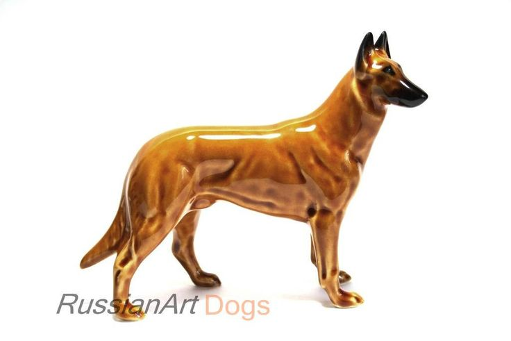 Belgian Shepherd Malinois dog  figurine ceramics handmade,  statuette porcelain by RussianArtDogs on Etsy