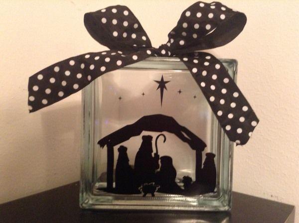 Best Halloween Glass Blocks Images On Pinterest Glass Block - Nativity vinyl decal for glass block light