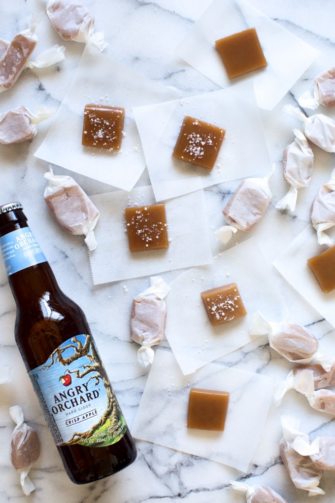 A Sea Salt Hard Cider Caramels recipe infused with Angry Orchard Crisp Apple Hard Cider and warm winter spices. A perfect edible gift for the Holidays!
